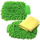 Mizoova - Kit Guanto Pulente in Microfibra per Lavaggio Auto – Confezione da 2 Guanti 100% Poliestere Doppio Lato Verde Anti Pelucchi LAvabili in Lavatrice Include Panno in Pelle di Daino Sintetico