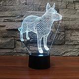 Iluminación creativa, Forma de animal, Perro lobo, Lámpara de noche creativa 3D, Lámpara de...