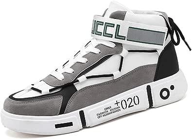 Scarpe da Skateboard da Uomo Sneakers Alte Traspiranti di Colore Misto Piattaforma Coppia Scarpe Antiscivolo da Corsa Casual