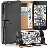 moex iPhone 4S | Hülle Dunkel-Grau mit Karten-Fach 360° Book Klapp-Hülle Handytasche Kunst-Leder Handyhülle für iPhone 4/4S Case Flip Cover Schutzhülle Tasche