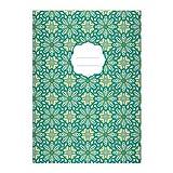 Kartenkaufrausch 2 Edle Ethno DIN A5 Schulhefte, Schreibhefte mit Muster im Boho Stil in grün Lineatur 4 (liniertes Heft)