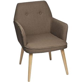 pierimport fauteuil inspiration scandinave tissu couleur beige pieds bois 59x67x82cm oslo - Fauteuil De Table Scandinave