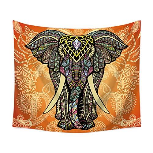Lihan Tapicería Estilo Animal Elefante Hippie Mandala de Pared Tapiz Estampado Floral Decoración Hogar para Grande Picnic Mantel diseño, Elefante4 90 * 75cm/35 * 30inch