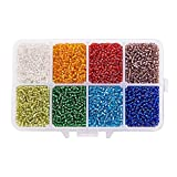 PandaHall Elite 1 caja 12/0 bolas de la semilla de cristal de plata transparente forrado ronda suelta perlas espaciadoras, color mezclado, 2 mm, agujero: 0.5 mm