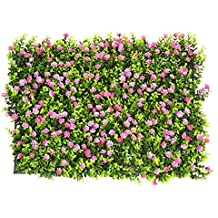 Artificial Hedge with Flowers Faux Greenery Privacy Screens Green Hedge Backdrop Plastic Garden Fake Fence Mat Panel Trellis Wall Decoration by Yunhigh