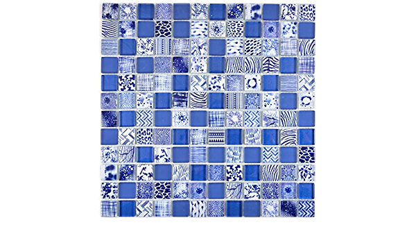 Mosaik Fliese Glasmosaik Quadrat Crystal mix blau light blue white f/ür WAND K/ÜCHE Fliesenspiegel Thekenverkleidung Wandverblender