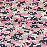 Baumwolljersey Glitzer Camouflage Pink Kinderstoffe Modestoffe Tarnmuster Öko-Tex - Preis Gilt für 0,5 Meter