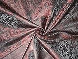 Seide Brokat Stoff Metallic Rot & Schwarz Farbe 111,8cm