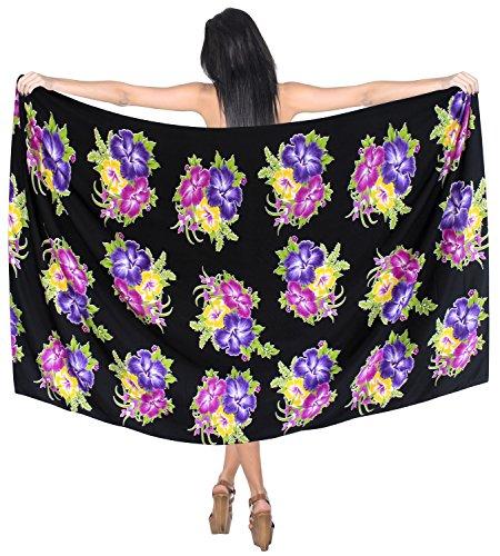LA LEELA 7 Arten Hawaii Kultur Wickeln eine Größe Sarong kleiden Uns 2X violett zu tragen
