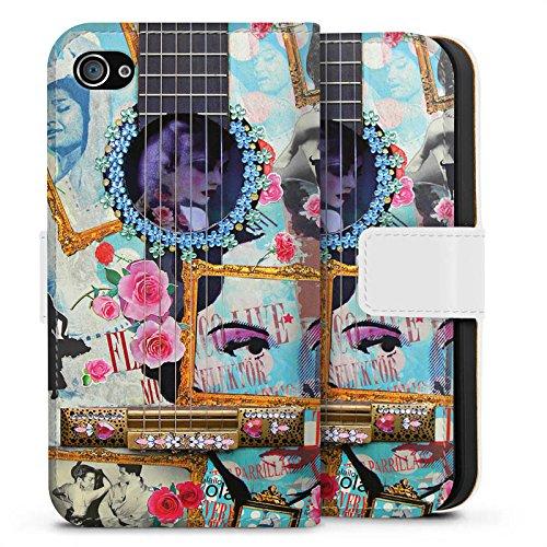 Apple iPhone X Silikon Hülle Case Schutzhülle Gitarre Kunst Flamenco Sideflip Tasche weiß
