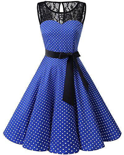 bbonlinedress 1950er Ärmellos Vintage Retro Spitzenkleid Rundhals Abendkleid RoyalBlue Small White Dot L