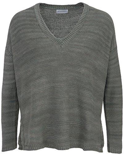 Delicatelove Damen Wax V-Neck Pullover Olive, Größe M