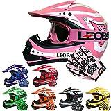 Leopard LEO-X17 Casque de Moto de Casques Motocross & Gants d'enfants & Lunettes de Protection pour Enfants Bicyclette ATV ECE 22-05 Approbation M (51-52cm) Rose