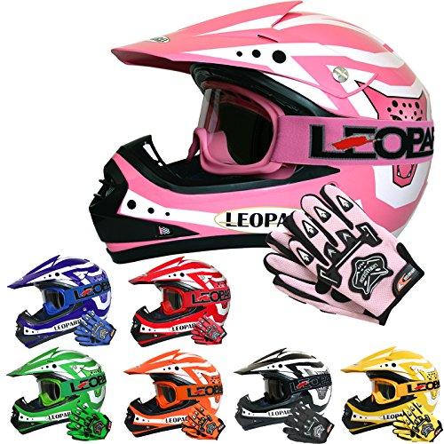Leopard LEO-X17 *ECE 2205 Genehmigt* Kinder Motocross MX Helm Motorradhelm Crosshelm Kinderquad Off Road Enduro Sport + Handschuhe + Brille - Rosa L (53-54cm)