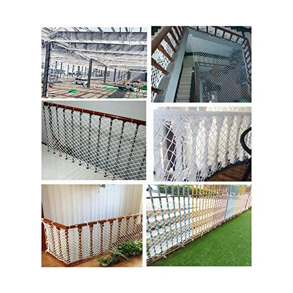 Freight Net,Playground Rope Net, Stair Children Protection Netting Balcony Cats Safety Nets, Cargo Rope Ladder Truck Trailer Netting White Nylon Net Banister Protection Fence Playground Decoration Mes SFMND ▲Multi-use Protection Net:Family balcony and railing balcony stairs safety net banister stair anti-cat climbing, anti-high fall and other intensive protection; Wall ,home, theme party hotel, guesthouse, cafe, bookshop, restaurant, decoration,hanging ect. ▲Characteristics of Decoration Net: Soft material, light mesh, multi-layer warp and weft, precise wiring, workmanship; high temperature sunscreen, waterproof; clear lines, anti-slip endurance and anti-wear. ▲Ceiling net, decorative net, shed partition net, photo wall, hanging net, stair safety net and protective net. 5