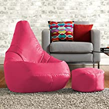Hi-BagZ puf y reposapiés a juego Combo–100% fácil cuidado Puff Respaldo Alto Color Rosa