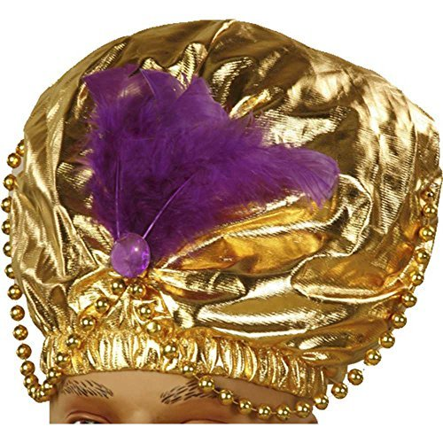 Forum Novelties-Gold Turban mit Perlen, 30,5x 45,7cm passt Standard Erwachsenen Kopf