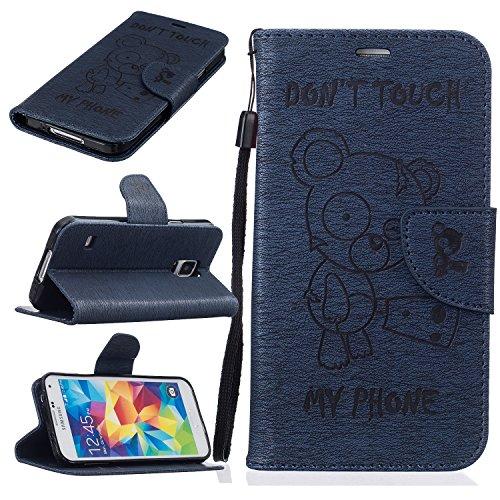 Samsung Galaxy S5 Custodia in Pelle Protettiva Flip Cover per Samsung Galaxy S5 Snap-on Magnetico Bookstyle TPU Case - Cozy Hut Fatto a Mano Custodia Wallet Protettiva Portafoglio Stand Case Magnetico Flip,ID Slot per Scheda - Progettazione Arrabbiato dell