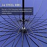 HISEASUN 52inch Grande Ombrello Antivento con 24 Stecche in Vetroresina Manico Lungo Dritto Ombrello da Viaggio e da Golf per Donna e per Uomo con Borsa per il Trasporto Inclusa (Blu)