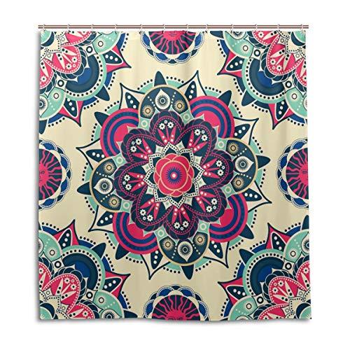 BIGJOKE Cortina de Ducha, diseño étnico de Mandala Floral, Resistente al Moho, Impermeable, Tela de poliéster, 12 Ganchos, 66 x 72 Pulgadas, decoración del hogar