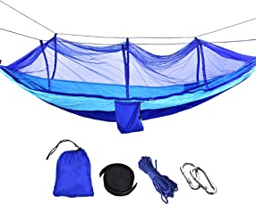 Camping Hammock with Net, Portable Outfitters Nylon Mosquito Net Hammock with Storage Bag for Traveling Hunting Hiking Backpacking
