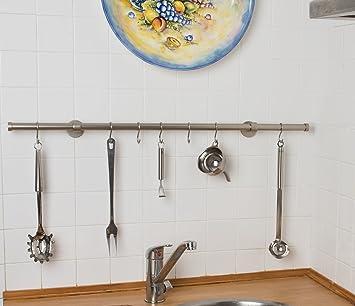 Porta utensili da cucina Ø 20 mm, L. 40 cm. in acciaio satinato – con ganci
