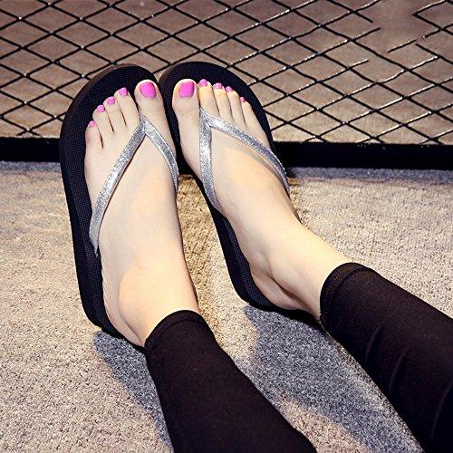 Estate Sandali Pantofole antisdrucciolo estivo femminile per Ooutdoor (rosa, nero, blu, oro, argento) Colore / formato facoltativo Silver