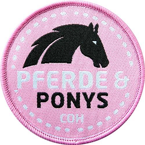 2 x Pferd & Pony Abzeichen gewebt 60 mm / Reitsport Reiten / Aufnäher Aufbügler Applikation Flicken Sticker Patch Kinder Jugendliche / Reit-Bekleidung Zubehör Ausrüstung Ponyhof Reitschule Voltigieren