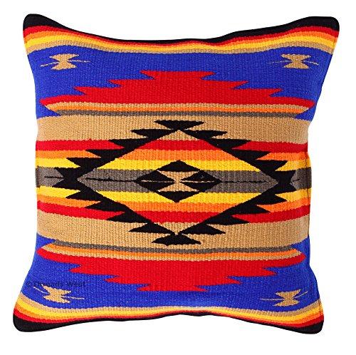 Überwurf Kissen 20x 20, Southwest, mexikanischen von Hand gewebt, und native american Styles. Handgefertigt Western Dekoratives Kissen Fällen, acryl, Royal Blue and Tan, 20x20