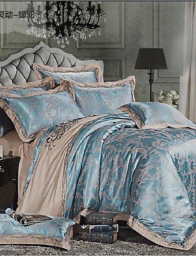 ZHUAN GAOHAIFQ®, vierteilige Anzug,100% Baumwolle mit Luxus und Komfort Blumen-Jacquard Bettwäsche-Sets, Queen/King-Size, Queen -