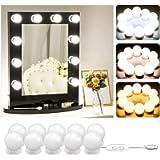 Hollywood Mirror Light Bulbs Kit 10 - LED Vanity Mirror Lamp for Dressing Room Table - USB Operated Mirror Light Strip…