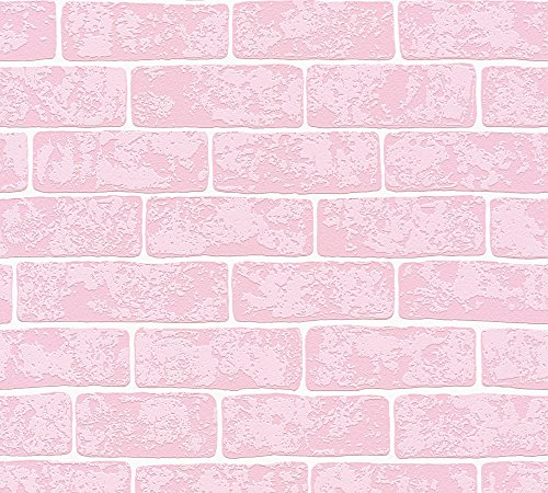 A.S. Création Vliestapete Best of Wood`n Stone 2nd Edition Tapete in Stein Optik 10,05 m x 0,53 m rosa weiß Made in Germany 359812 35981-2