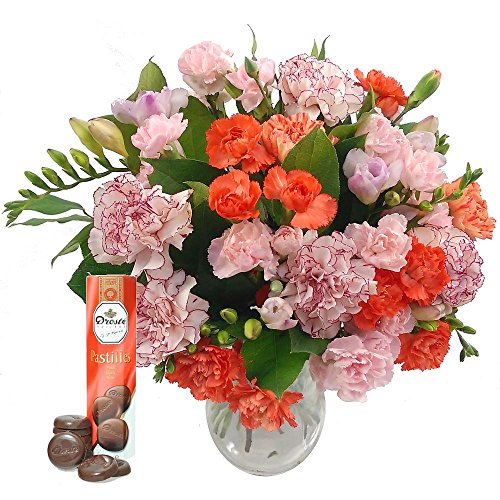 freesia-carnation-fresh-flowers-bouquet-with-free-chocolates-pink-freesia-and-orange-carnations-for-