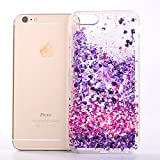 Image of For Iphone 6 Case Iphone 6s 47 Case with Tempered Glass Screen Protectorfatcatparadisetm Anti Scratch Transparent Glitter Flowing Liquid Floating Cover Case colorful Cute Pattern Luxury Bling Shiny Sparkle Plastic Hard Case Non slip Design Protective Shel
