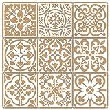 Stencil Deco Fondo 095 Baldosas 2 capas Medidas aproximadas: Medida exterior del stencil: 25 x 25 Medida del diseño: 22 x 22