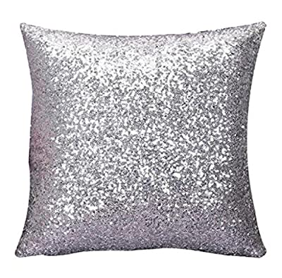 Covermason Glitter Sequins Square Throw Pillowcase Cushion Covers For Cafe Home Decor (40x40cm, Silver) - low-cost UK light shop.
