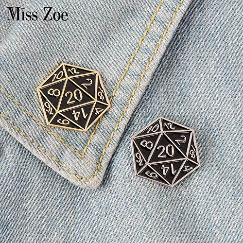 JTXZD Brosche Gold Silber Zwanzig seitige Würfel Dungeons & s Emaille Pin Broschen Tasche Kleidung Anstecknadel auf Abzeichen DND Fans