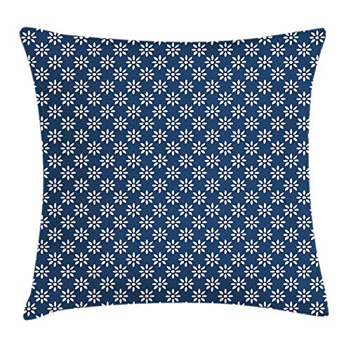 rongxincailiaoke kissenbezüge Dutch Throw Pillow Hand Drawn Style White Flowers on a Blue Background Classic Delft Pattern, Decorative Square Accent Pillow Case, 18 X 18 Inches, Navy Blue and White -