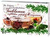 Feelino Teeblumen Geschenk-Kollektion, Adventskalender, Kalender mit 24 verschiedenen Teerosen, einzeln vakuumiert, weißer Tee, grüner Tee,...