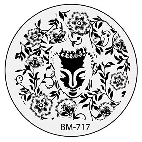 Stamping Pochoir Plate BM 717 Bundle Monster Fleurs Flower Tribal Nail Art Design