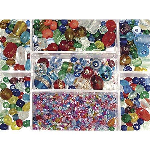RAYHER Glasperlen-Mix, Sammelbox 115g, bunt, ø 2,5 – 13mm Glasperlen