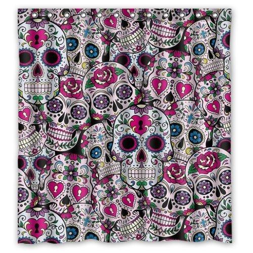 Love corazón decorativo con flores, cortina de ducha, resistente al agua, tela de poliéster 167,64 x 182,88 cm