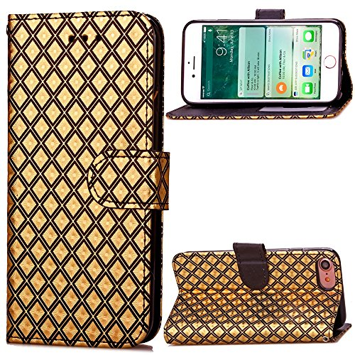 JIALUN-Telefon Fall iPhone 7 Diamant Gitter Muster Fall, PU Ledertasche TPU Soft Cover mit Handschlaufe Stand Wallet Case für IPhone 7 ( Color : 1 , Size : Iphone 7 ) 1