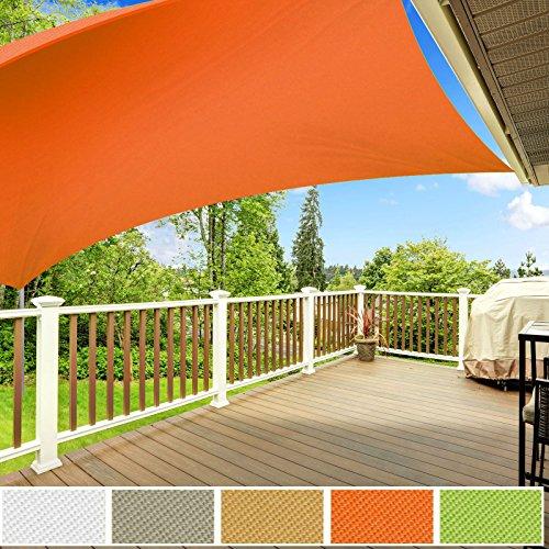 casa pura Voile d'Ombrage Carré | Toile Tendue Epaisse & Résistante Intempéries | Voile Imperméable - Lavable en Machine | Orange - 3x3m