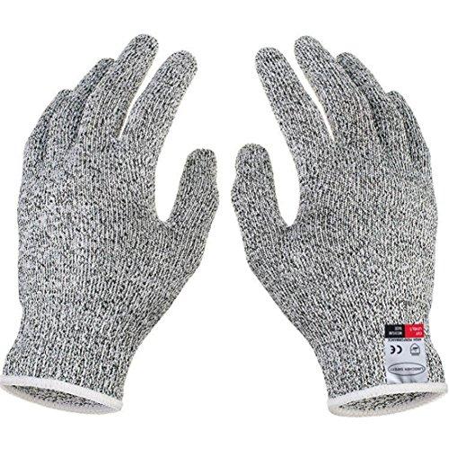Gusspower Schnittschutz-Handschuhe - High Performance Level 5 Schutz Cut Resistant Handschuhe, Küche Sicherheit Arbeitshandschuhe, EN-388 Zertifiziert, Lebensmittelecht, Größe Medium, 1 Paar (M, Weiß)