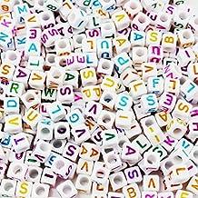 Mezclado 500PCS 6mm Granos de acrílico de la letra de plástico granos del espaciador del alfabeto colorido cubo para las pulseras DIY Collares Cadenas (blanco en multiples)