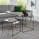 Satztisch 2er Set, Sofatisch, Couchtisch zweiteilig, Wohnzimmertisch, Kleine Tische mit Metallgestell BZW. Beistelltische in Gold-Silber-Schwarz