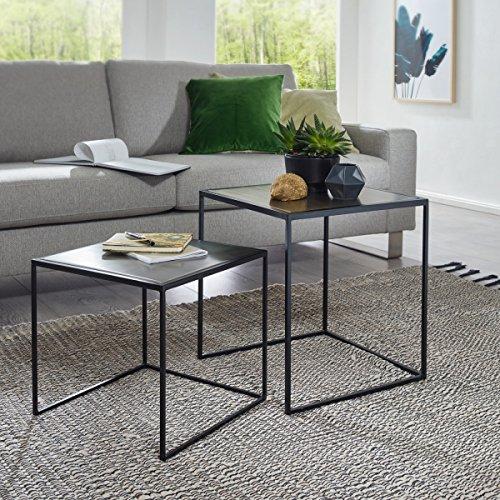 Wohnling Beistelltisch MATTIS Satztisch 2er Set Gold/Silber Sofatisch Metall | Design Industrie Couchtisch eckig zweiteilig | Loft Wohnzimmertisch modern | Kleine Tische mit Metallgestell