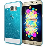 Samsung Galaxy S7 Edge Coque Protection de NICA, Ultra-Fine Glitter Housse Slim Hardcase Paillettes Cover, Etui Rigide Anti-choc Strass Bumper Mince pour Telephone Portable Samsung S7 Edge - Bleu