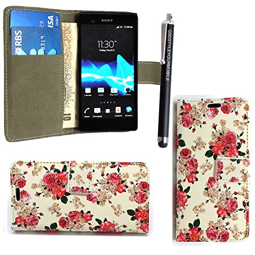 gsdstyleyourmobile-tm-sony-xperia-e1-various-pu-leather-magnetic-flip-case-cover-guard-stylus-roses-